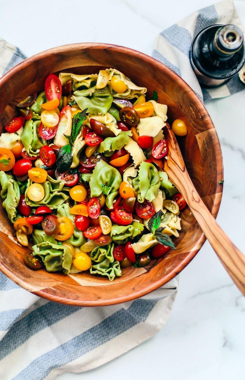 Big bowl of tortellini pasta salad.