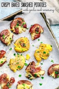 Baked Crispy Smashed Potatoes with Garlic and Rosemary