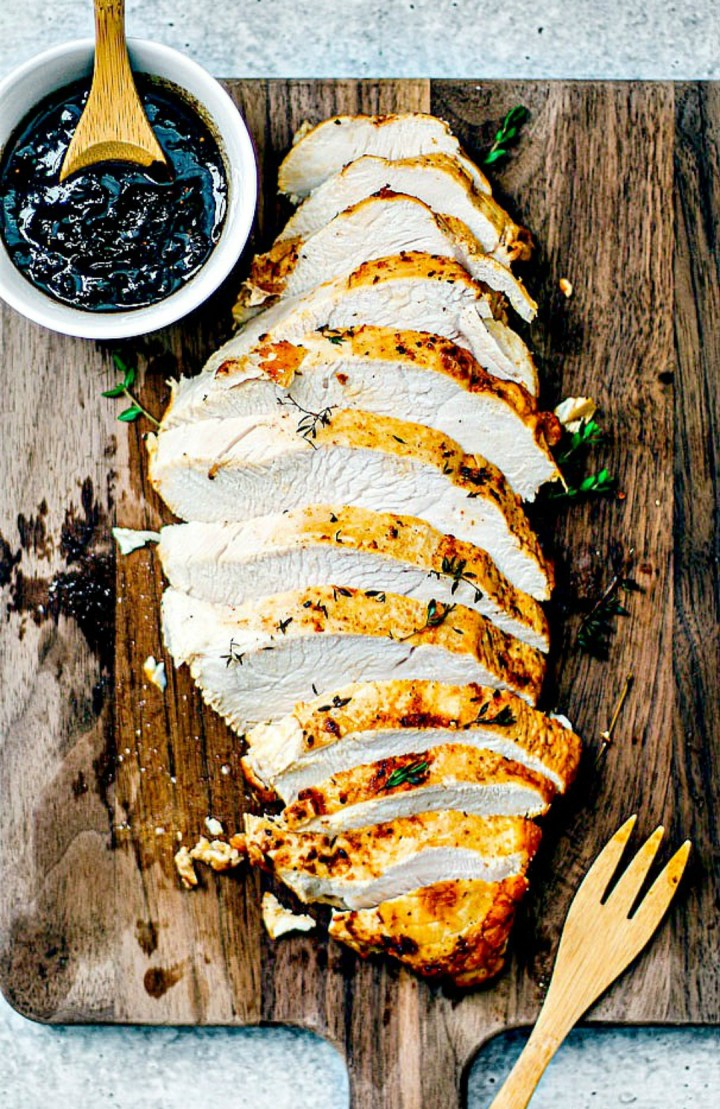 Roasted Turkey Breast with Cranberry Balsamic Glaze.