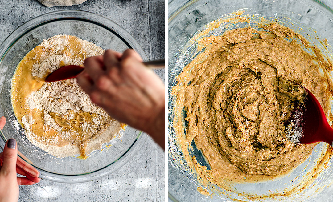 Collage: Photo of ingredients being mixed and photo of finished batter.