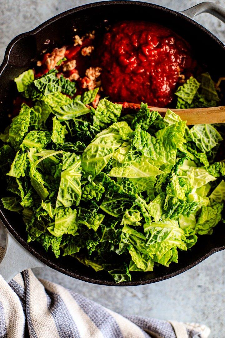 Pan full of ingredients.