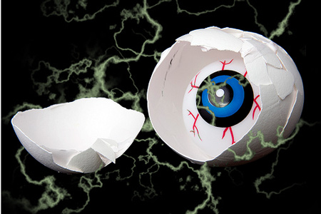 Scary eyeball in an egg with lightning