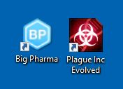 desktop icons for the games big pharma and plague inc
