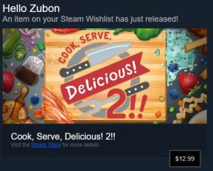 steam message announcing the release of Cook Serve Delicious 2