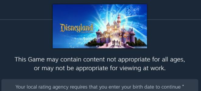 an age an content warning screen for the game Disneyland Adventures on Steam