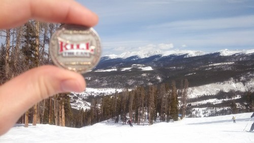 Mike Land and his coin at Winter Park/Mary Jane ski resort. Winter Park, Colorado.