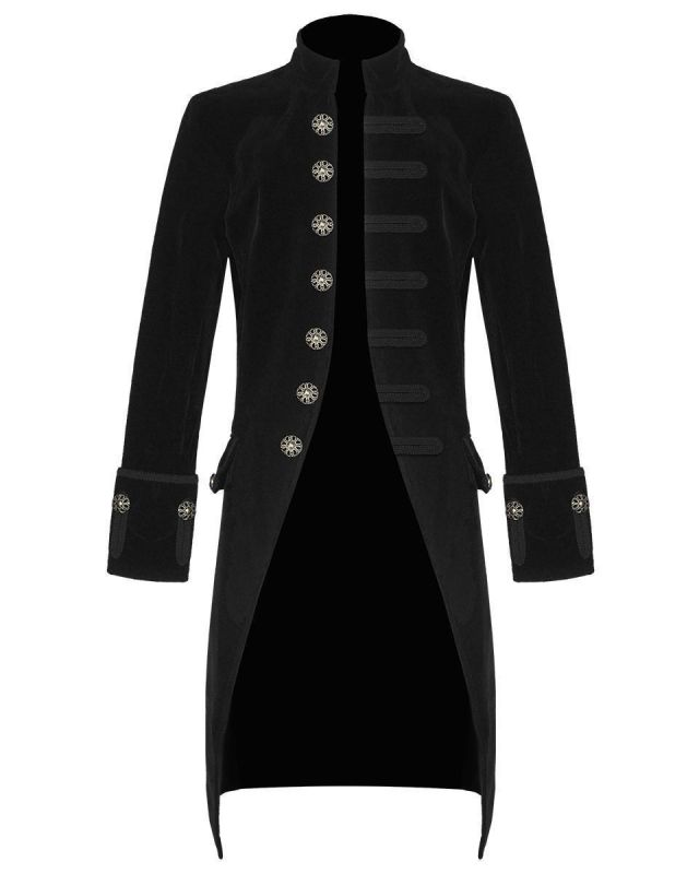 Black Velvet Goth Steampunk Victorian Frock Coat Jacket