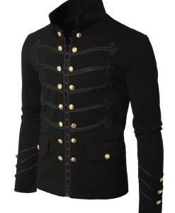 Black Embroidery Military Napoleon Hook Jacket, Military Jackets, Traditional Jackets, Jackets for Men