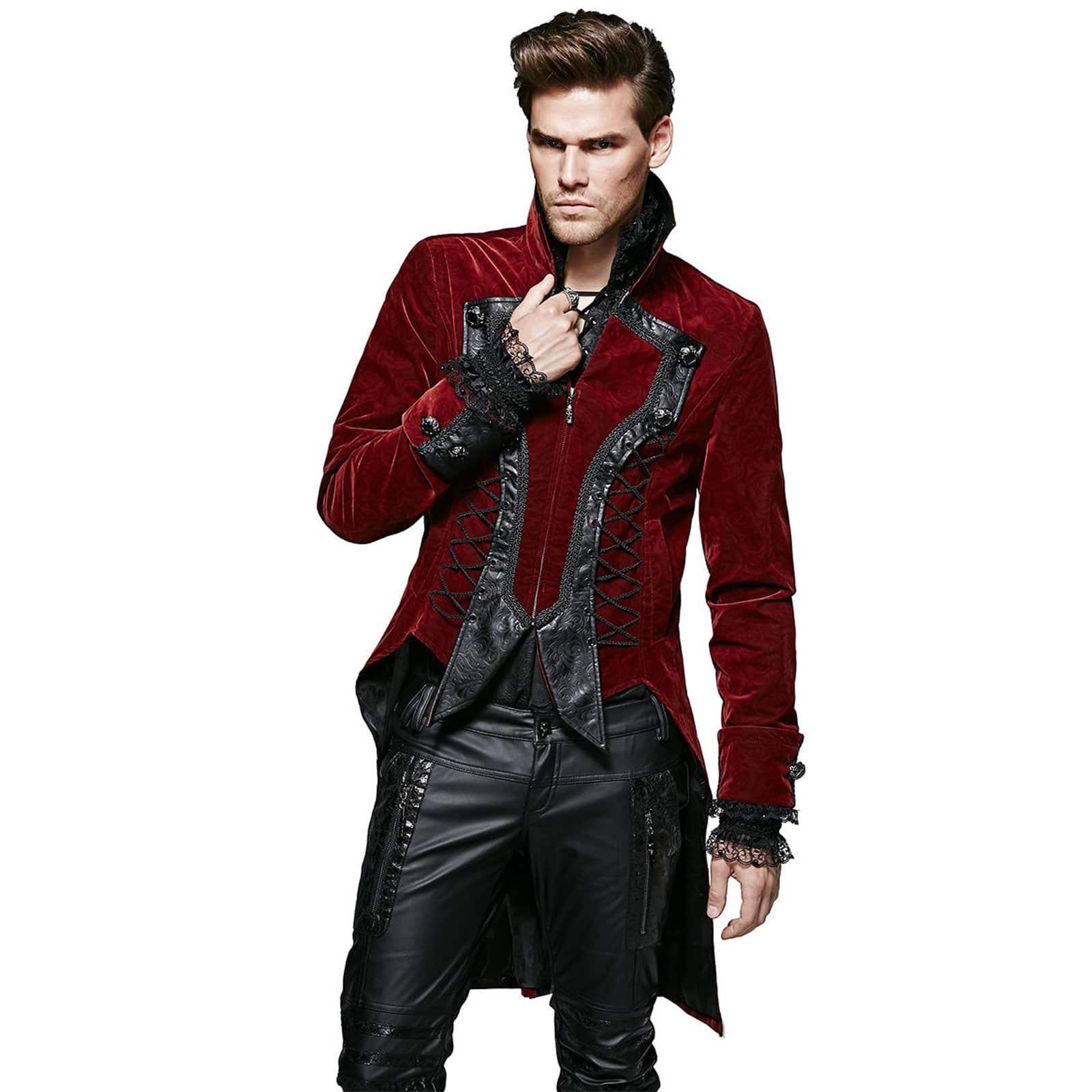 Punk Rave Dandy Mens Red Velvet Jacket Coat Goth VTG Steampunk