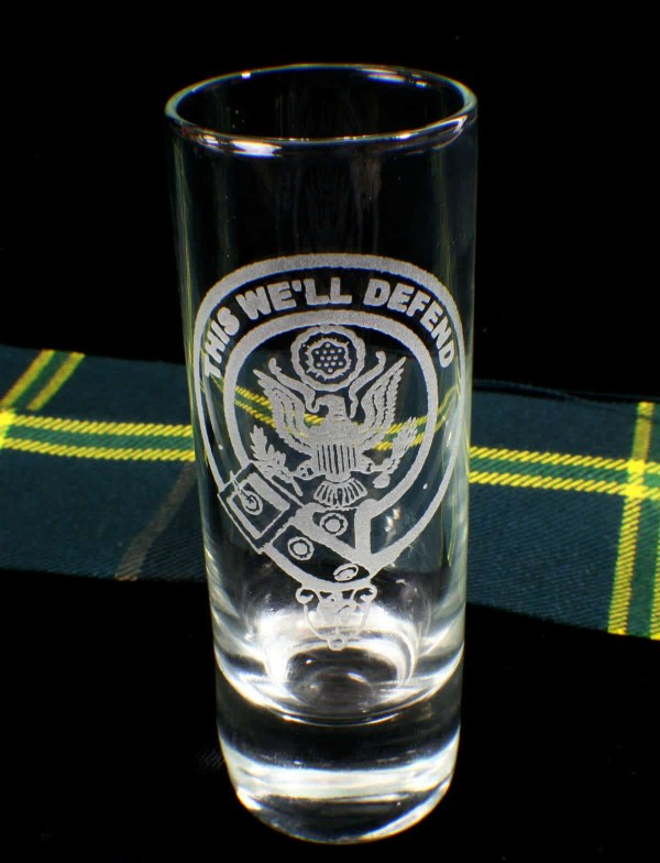 U.S. Army Etched Tall Shot Glass