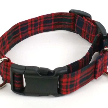 Homespun 1-Inch Tartan Dog Collar and Leash Set