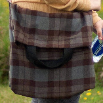Homespun Wool Blend Messenger-Style Tartan Tote Bag