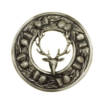 Stag on Thistle Border Plaid Brooch
