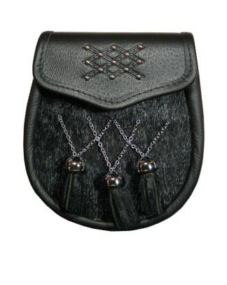 Black Bovine Premium Fur Sporran