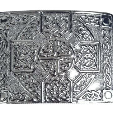 Chrome Celtic Cross Kilt Belt Buckle