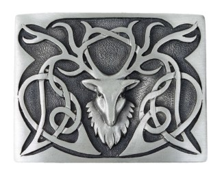 Stags Head Pewter Kilt Belt Buckle
