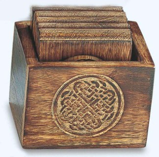Round Celtic Knot Wood Coasters