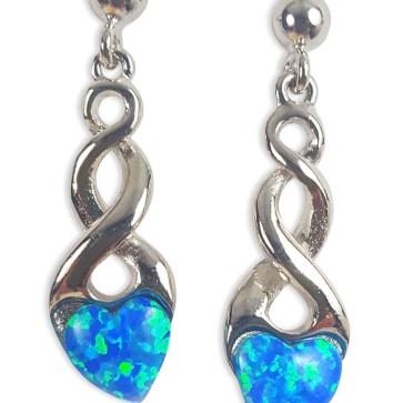 Blue Opal Heart Celtic Knot Earrings