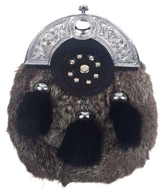 Grey Rabbit Black Tassels Fur Sporran