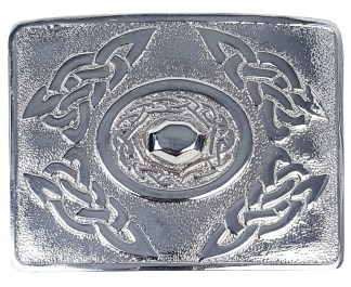 Celtic Oval Chrome Kilt Belt Buckle