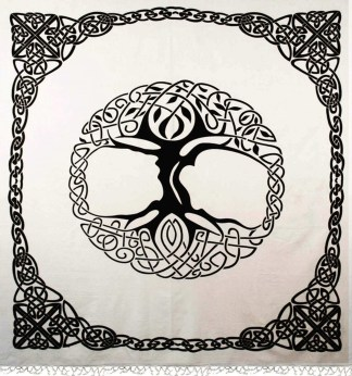 Cream and Black Tree of Life Tapestry