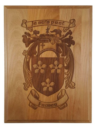 Fraser Coat of Arms Wooden Wall Plaque