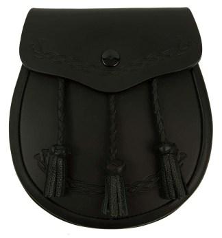 Black Leather Thistle Embossed Sporran