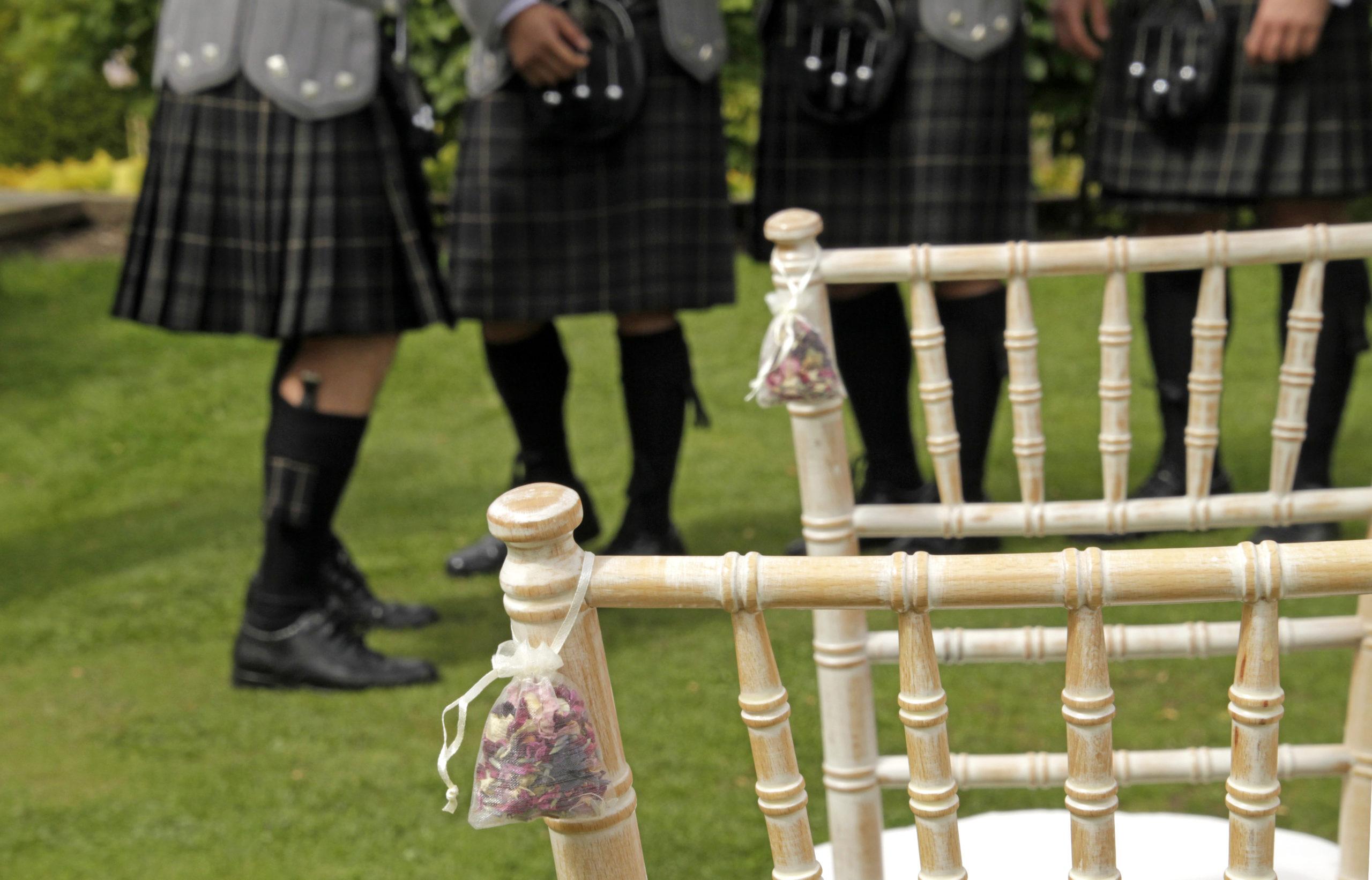 Men in kilts at Scottish wedding