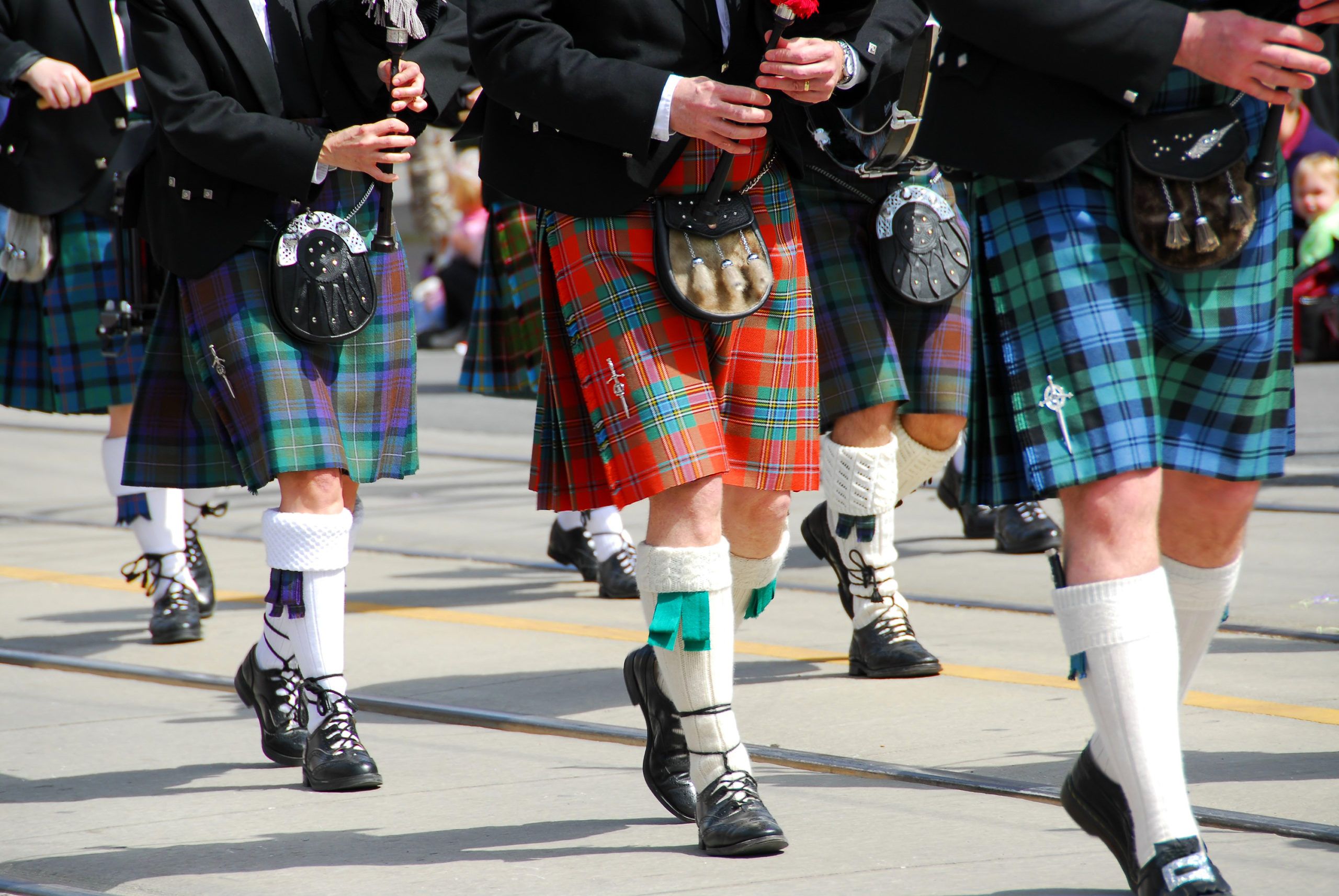 Scottish marching band at city parade