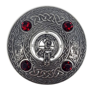 CCC-CL-1595 Murray Clan Crest Plaid Brooch