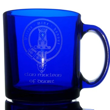 Clan Crest Blue Glass Coffee Mug
