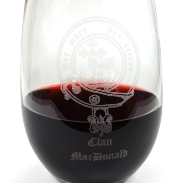 Clan Crest Stemless Wine Glass