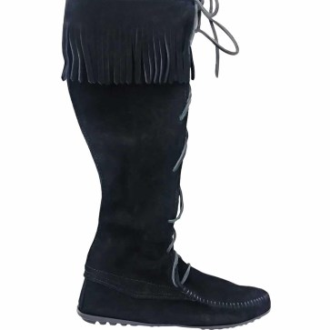 Womens Knee High Suede Boots Black
