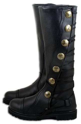 Premium Top Grain Leather Knee-High Boots - Black