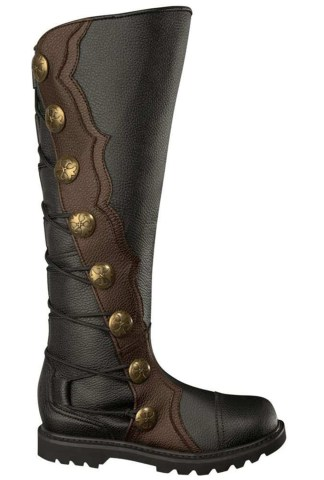 Premium Leather Knee-High Boots - Black with Brown Trim