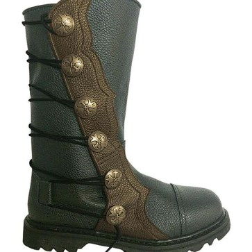 Premium Leather Half-Calf Boots - Black with Brown Trim