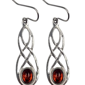 Cornish Pewter Earrings with Real Amber