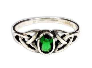 Emerald Green CZ Sterling Silver Triskel Knot Ring