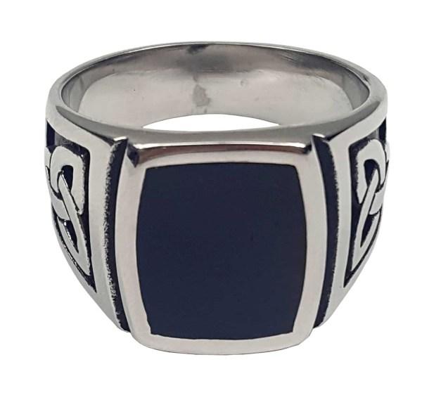 Black Onyx Stainless Steel Triskle Ring