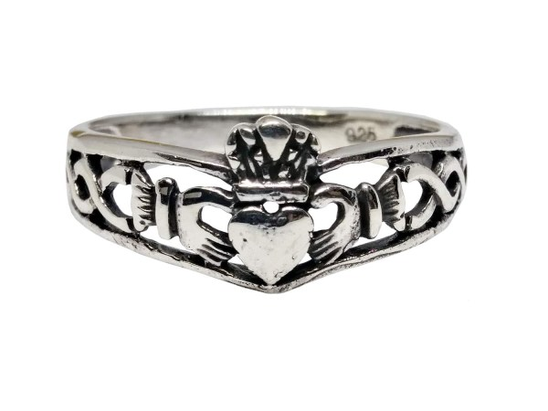 Silver Claddagh Celtic Knot Ring