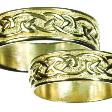 Womens 14K Gold Celtic Wedding Band