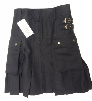 KCAN-CL-1805 Black Canvas Kilt - 34W 23L