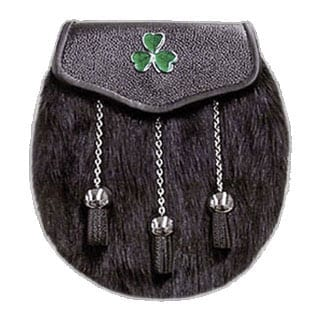 Muskrat Fur Sporran with Irish Shamrock