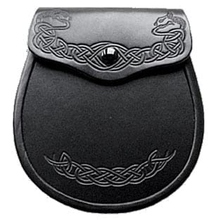 Black Leather with Celtic Embossed Dragon Sporran