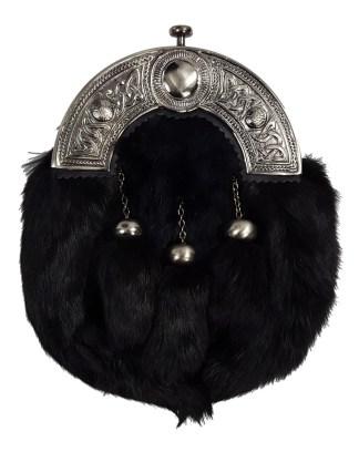 Antiqued Cantle Black Fur Economy Sporran