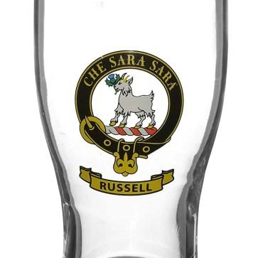 STCBG-CL-1771 Russell Clan Crest Tartan Pub Glass