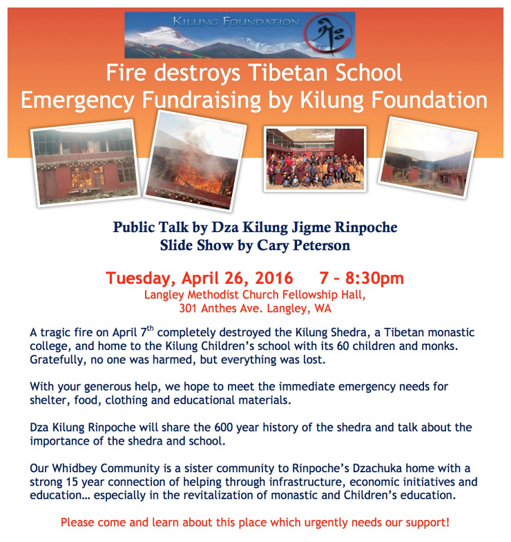 Flyer Kilung Shedra fire