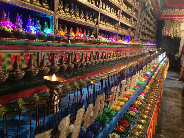 temple aug2016 butter lamps altar tormas statues photo-1 copy