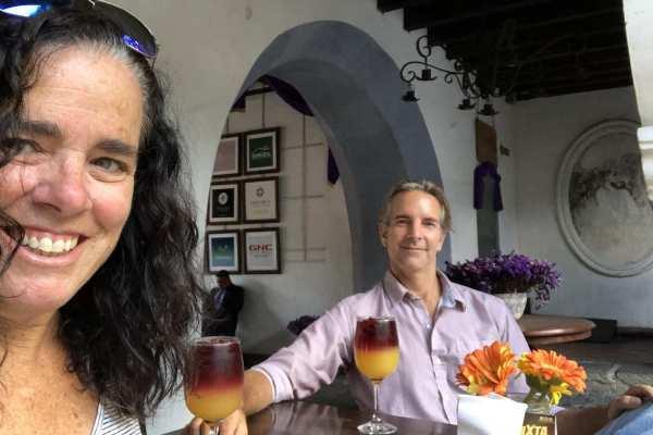 Kim and Way relaxing in Antigua, Guatemala