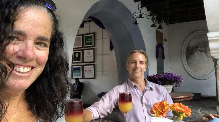 Kim and Way relaxing in Antigua, Guatemala